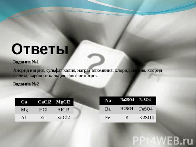 ОтветыЗадание №1Хлорид натрия, сульфат калия, натрат алюминия, хлорид магния, хлорид железа, карбонат кальция, фосфат натрия.Задание №2