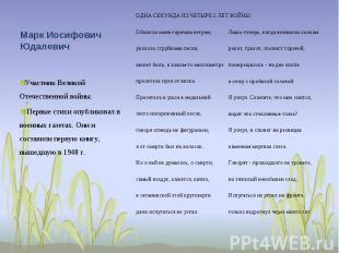 Марк Иосифович Юдалевич Участник Великой Отечественной войны. Первые стихи опубл