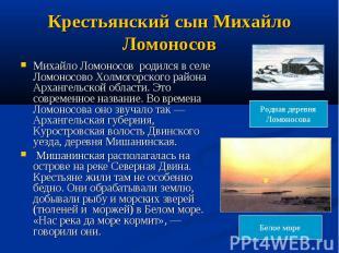 Крестьянский сын Михайло Ломоносов Михайло Ломоносов родился в селе Ломоносово Х