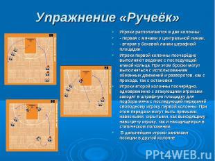 Упражнение «Ручеёк» Игроки располагаются в две колонны:- первая с мячами у центр