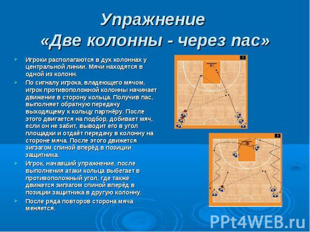 Упражнение «Две колонны - через пас» Игроки располагаются в дух колоннах у центральной линии. Мячи находятся в одной из колонн.По сигналу игрока, владеющего мячом, игрок противоположной колонны начинает движение в сторону кольца. Получив пас, выполн…