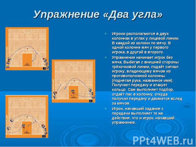 Упражнение «Два угла» Игроки располагаются в двух колоннах в углах у лицевой линии. В каждой из колонн по мячу. В одной колонне мяч у первого игрока, в другой в второго.Упражнение начинает игрок без мяча. Выбегая с внешней стороны трёхочковой линии,…