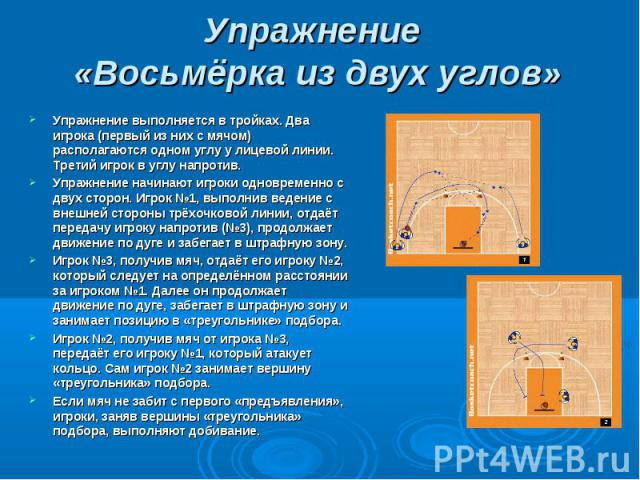 Упражнение «Восьмёрка из двух углов» Упражнение выполняется в тройках. Два игрока (первый из них с мячом) располагаются одном углу у лицевой линии. Третий игрок в углу напротив.Упражнение начинают игроки одновременно с двух сторон. Игрок №1, выполни…