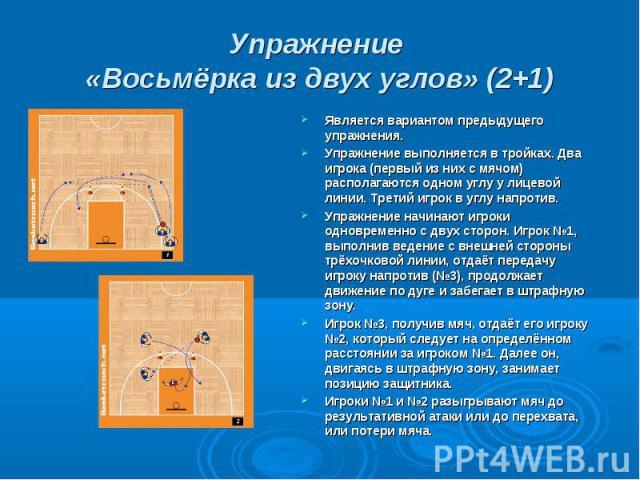 Упражнение «Восьмёрка из двух углов» (2+1) Является вариантом предыдущего упражнения.Упражнение выполняется в тройках. Два игрока (первый из них с мячом) располагаются одном углу у лицевой линии. Третий игрок в углу напротив.Упражнение начинают игро…