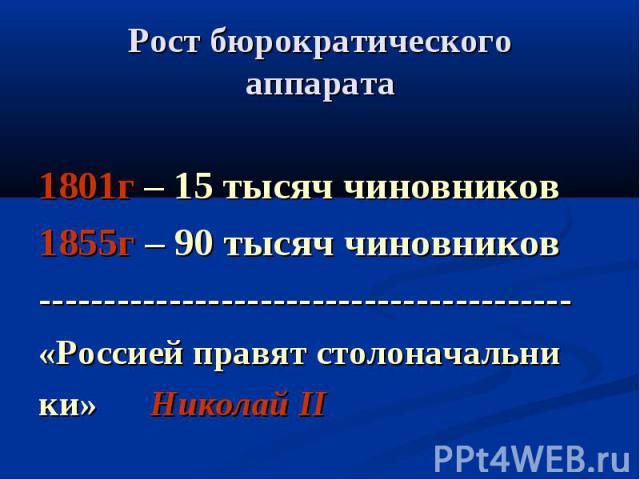 Рост бюрократическогоаппарата 1801г – 15 тысяч чиновников1855г – 90 тысяч чиновников-----------------------------------------«Россией правят столоначальники» Николай II