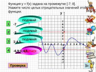 Функция y = f(x) задана на промежутке [-7; 8]. Укажите число целых отрицательных