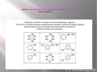 Арены – углеводороды , содержащие ядро бензола. Общая формула CnH2n-6