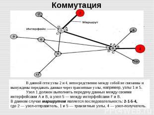 В данной сети узлы 2 и 4, непосредственно между собой не связанны и вынуждены пе