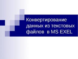 Конвертирование данных из текстовых файлов в MS EXEL