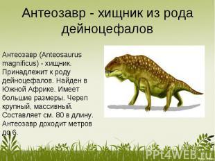 Антеозавр - хищник из рода дейноцефалов Антеозавр (Anteosaurus magnificus) - хищ