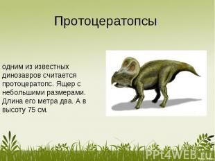 Протоцератопсы одним из известных динозавров считается протоцератопс. Ящер с неб