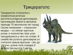 Трицератопс относился к знаменитым рогатым растительноядным динозаврам, населявш