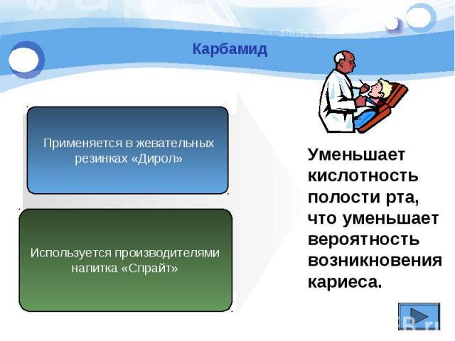 Карбамид Применяется в жевательных резинках «Дирол» Используется производителяминапитка «Спрайт» Уменьшает кислотностьполости рта, что уменьшаетвероятностьвозникновениякариеса.