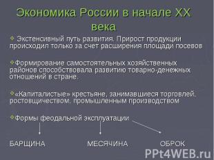 Экономика России в начале XX века Экстенсивный путь развития. Прирост продукции