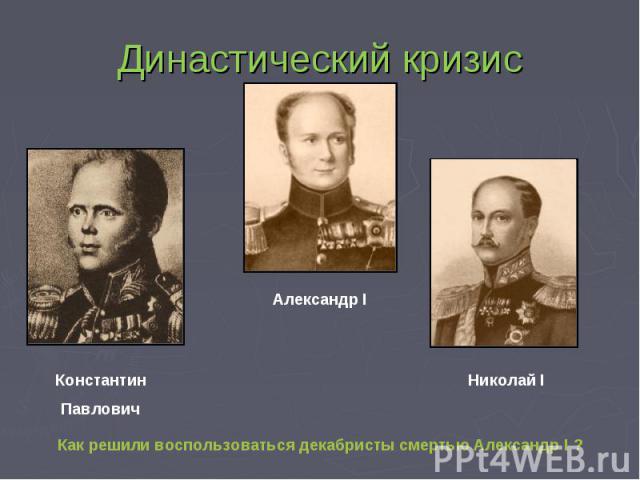 Династический кризис КонстантинПавлович Александр I Николай I Как решили воспользоваться декабристы смертью Александр I ?