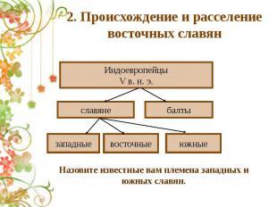 2. Происхождение и расселение восточных славян Назовите известные вам племена за