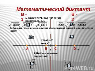 Математический диктант 1. Какое из чисел является рациональным: 2. Одна из точек