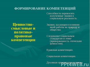 ФОРМИРОВАНИЕ КОМПЕТЕНЦИЙ Ценностно-смысловые и политико-правовые компетенции Спо