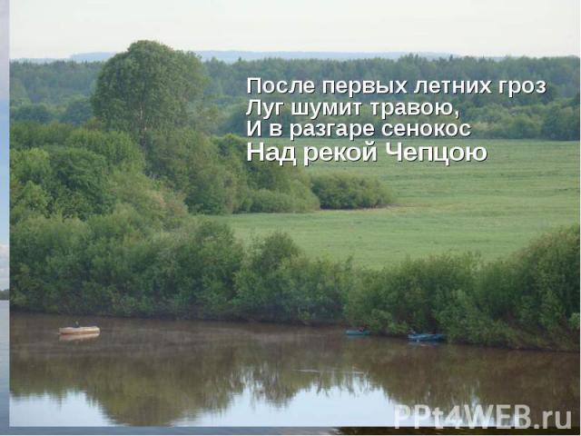 После первых летних грозЛуг шумит травою,И в разгаре сенокосНад рекой Чепцою