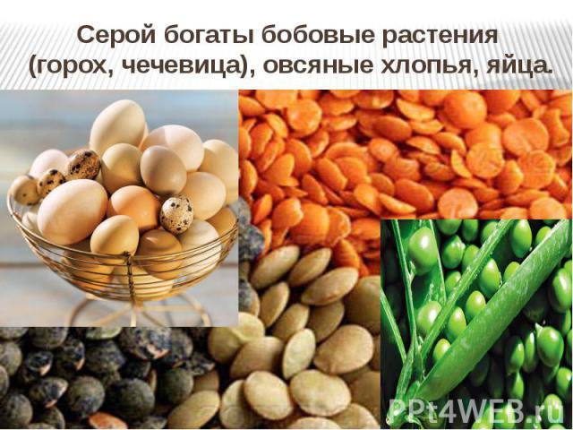 Серой богаты бобовые растения (горох, чечевица), овсяные хлопья, яйца.