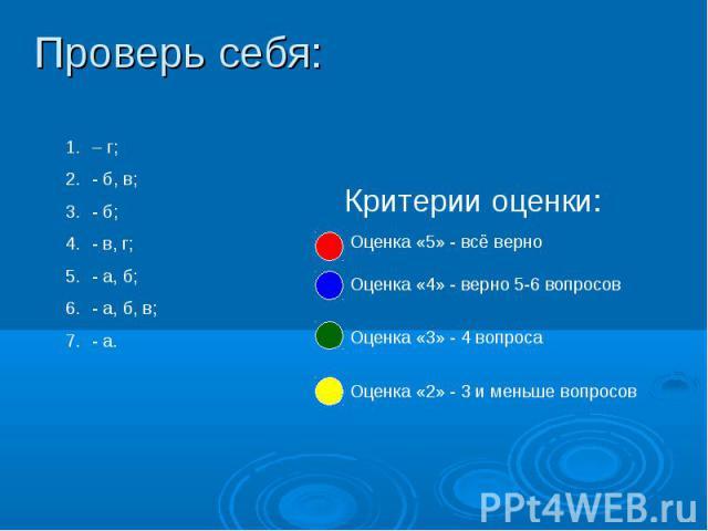 Проверь себя: – г;- б, в;- б;- в, г;- а, б;- а, б, в;- а. Оценка «5» - всё верноОценка «4» - верно 5-6 вопросовОценка «3» - 4 вопросаОценка «2» - 3 и меньше вопросов