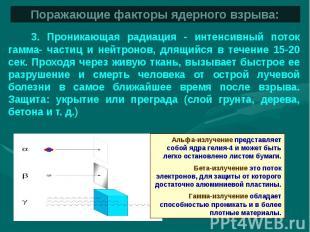Поражающие факторы ядерного взрыва: 3. Проникающая радиация - интенсивный поток