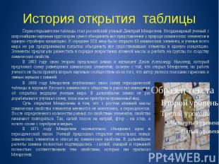 История открытия таблицы Первооткрывателем таблицы стал российский ученый Дмитри
