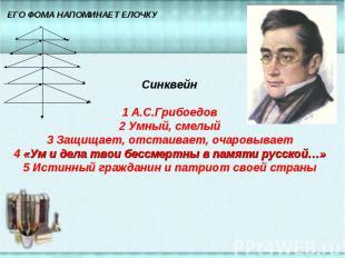 Синквейн1 А.С.Грибоедов2 Умный, смелый3 Защищает, отстаивает, очаровывает4 «Ум и
