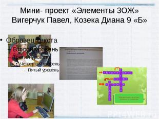 Мини- проект «Элементы ЗОЖ»Вигерчук Павел, Козека Диана 9 «Б»