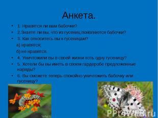 Анкета. 1. Нравятся ли вам бабочки?2.Знаете ли вы, что из гусениц появляются баб