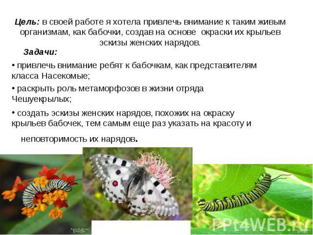 Цель: в своей работе я хотела привлечь внимание к таким живым организмам, как бабочки, создав на основе окраски их крыльев эскизы женских нарядов. Задачи: привлечь внимание ребят к бабочкам, как представителям класса Насекомые; раскрыть роль метамор…