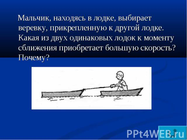 Мальчик, находясь в лодке, выбирает веревку, прикрепленную к другой лодке. Какая из двух одинаковых лодок к моменту сближения приобретает большую скорость? Почему?
