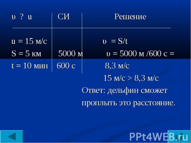 υ ? u CИ Решениеu = 15 м/c υ = S/tS = 5 км 5000 м υ = 5000 м /600 с =t = 10 мин 600 с 8,3 м/с 15 м/c > 8,3 м/с Ответ: дельфин сможет проплыть это расстояние.