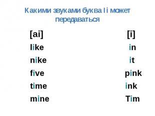 Какими звуками буква Ii может передаваться [ai] [i] like in nike it five pink ti
