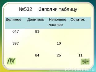 №532 Заполни таблицу