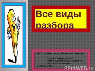 Все виды разбора ГБОУ «Адыгейская республиканская гимназия» Презентацию подготов