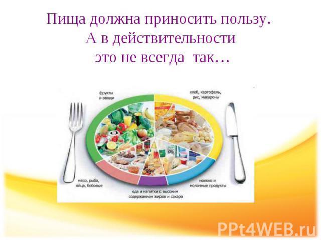 Пища должна приносить пользу. А в действительности это не всегда так…