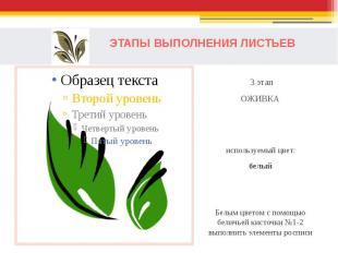 ЭТАПЫ ВЫПОЛНЕНИЯ ЛИСТЬЕВ 3 этапОЖИВКАиспользуемый цвет:белыйБелым цветом с помощ