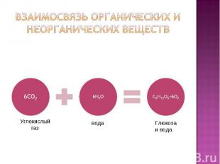 Взаимосвязь органических и неорганических веществ 6СО26Н2ОС6Н12О6+6О2