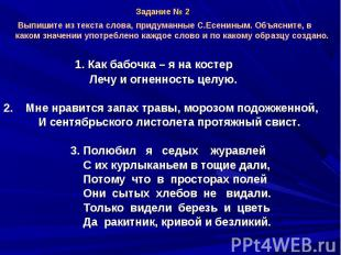 Выпишите из текста слова, придуманные С.Есениным. Объясните, в каком значении уп