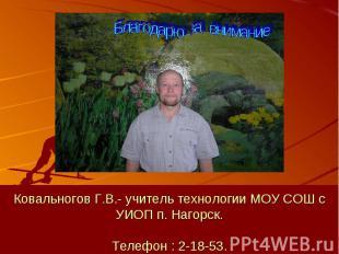 Ковальногов Г.В.- учитель технологии МОУ СОШ с УИОП п. Нагорск.Телефон : 2-18-53