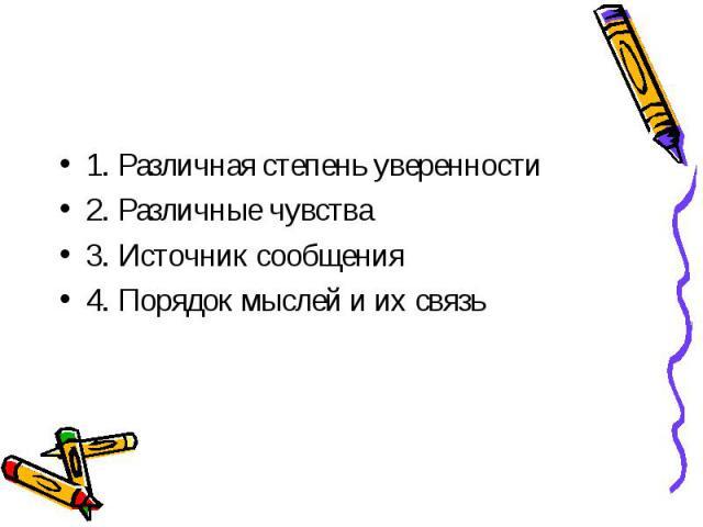 1. Различная степень уверенности2. Различные чувства3. Источник сообщения4. Порядок мыслей и их связь