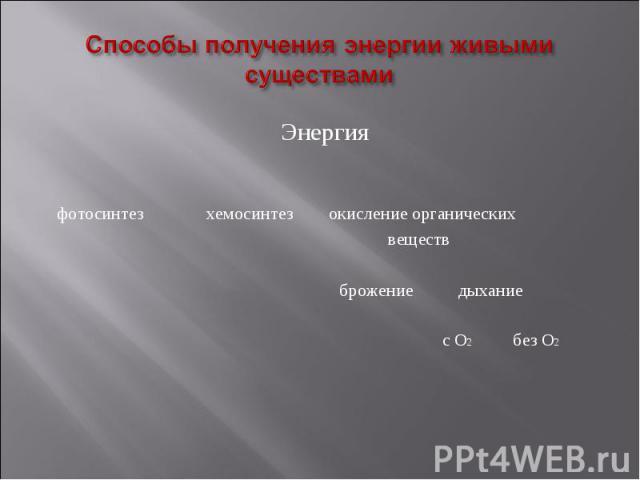 ЭнергияЭнергия фотосинтез хемосинтез окисление органических веществ брожение дыхание с О2 без О2
