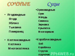 Ягодовидные Ягода Яблоко Тыквина ПомеранецКостянковидные Костянка Многокостянка