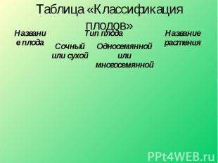 Таблица «Классификация плодов»