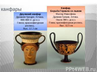 канфары Двуликий канфарДревняя Греция, Аттика. 490-480 гг. до н.э.Глина; красноф