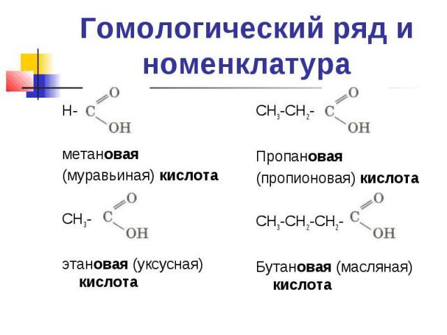 Гомологический ряд и номенклатураН- метановая(муравьиная) кислота СН3-этановая (уксусная) кислота