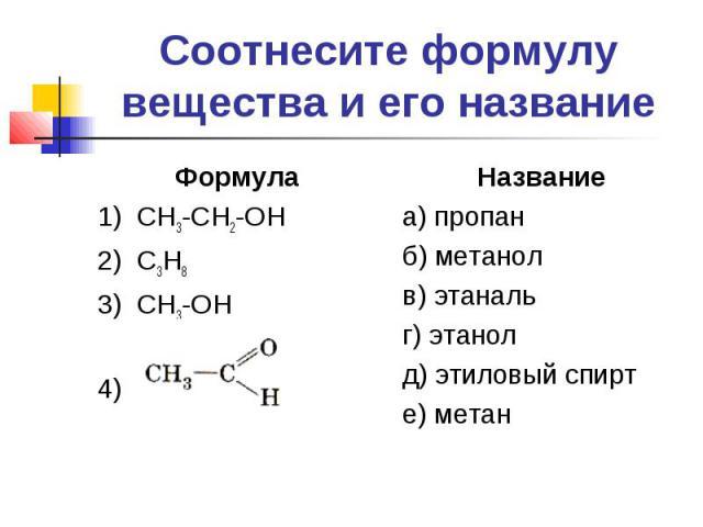 Соотнесите формулу вещества и его название Формула1) СН3-СН2-ОН2) С3Н83) СН3-ОН4) Названиеа) пропанб) метанолв) этанальг) этанолд) этиловый спирте) метан