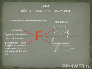 Тема: «Сила – векторная величина. Сила причина изменения скорости направление то