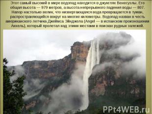 Этот самый высокий в мире водопад находится в джунглях Венесуэлы. Его общая высо